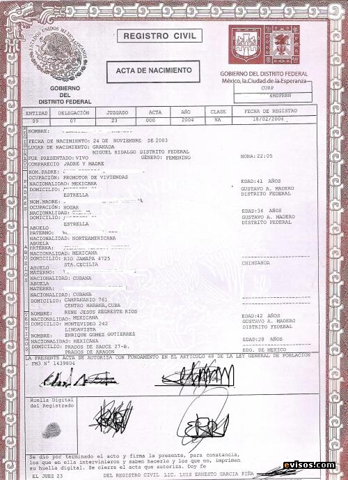 Birth Certificate - Mexico - Acta de Nacimiento - Spanish Translator
