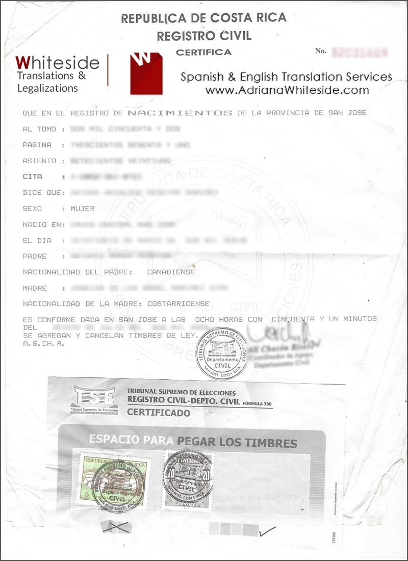 Ejemplo de Documentos que traducimos - Spanish Translator